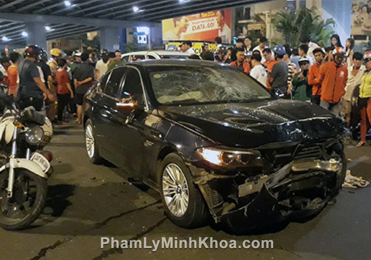 nữ tài xế bmw sau khi uống rượu bia đã tông đổ rất nhiều người bị thương.